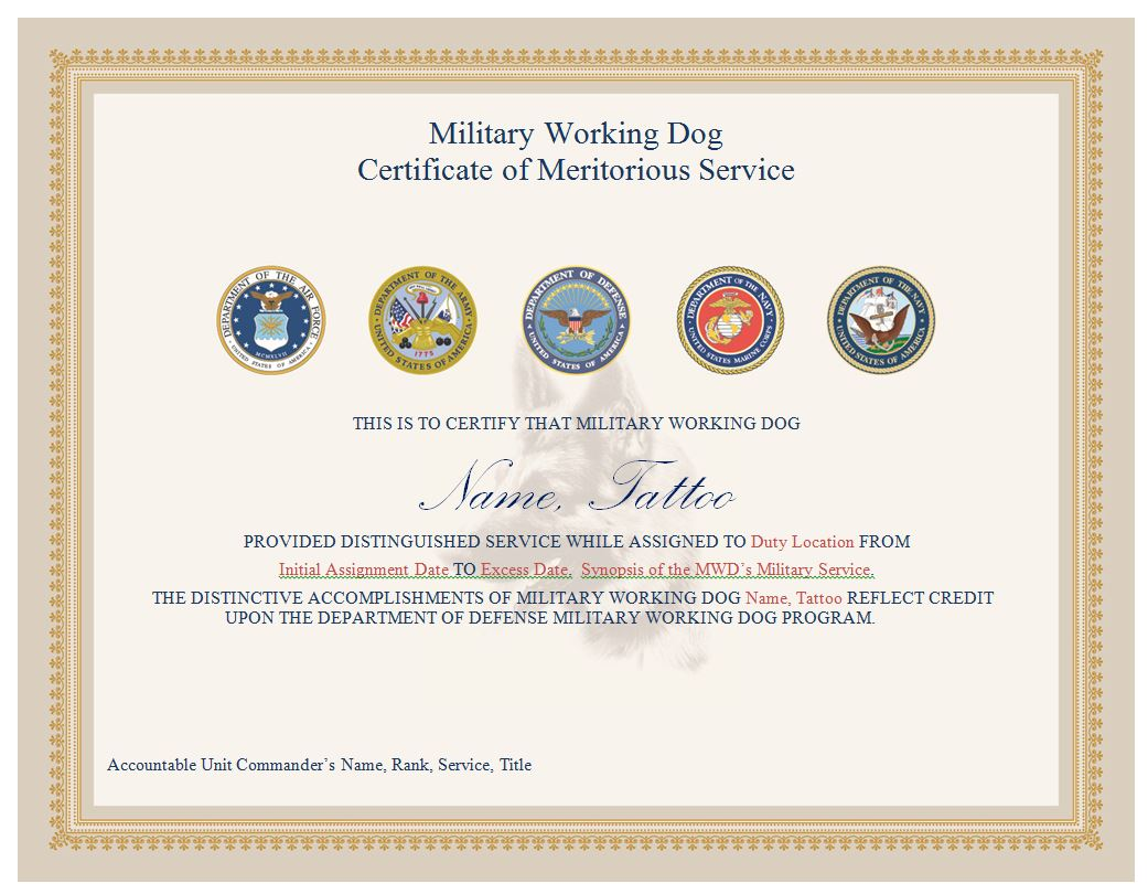 Service dog certificate best design sertificate 2017 animal id 1betcityfo Choice Image